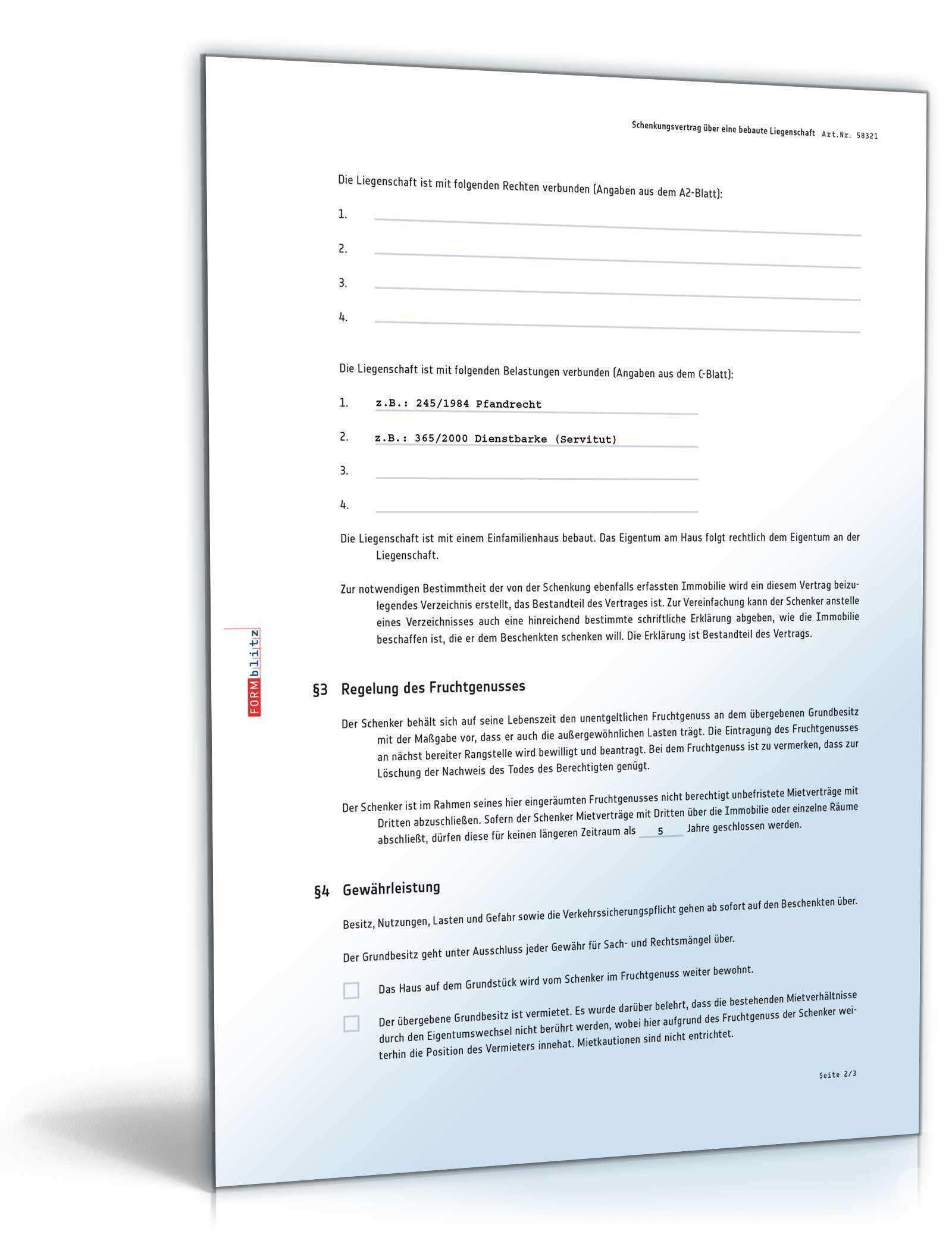 Schenkungsvertrag Liegenschaft Mit Fruchtgenuss Muster Zum Download