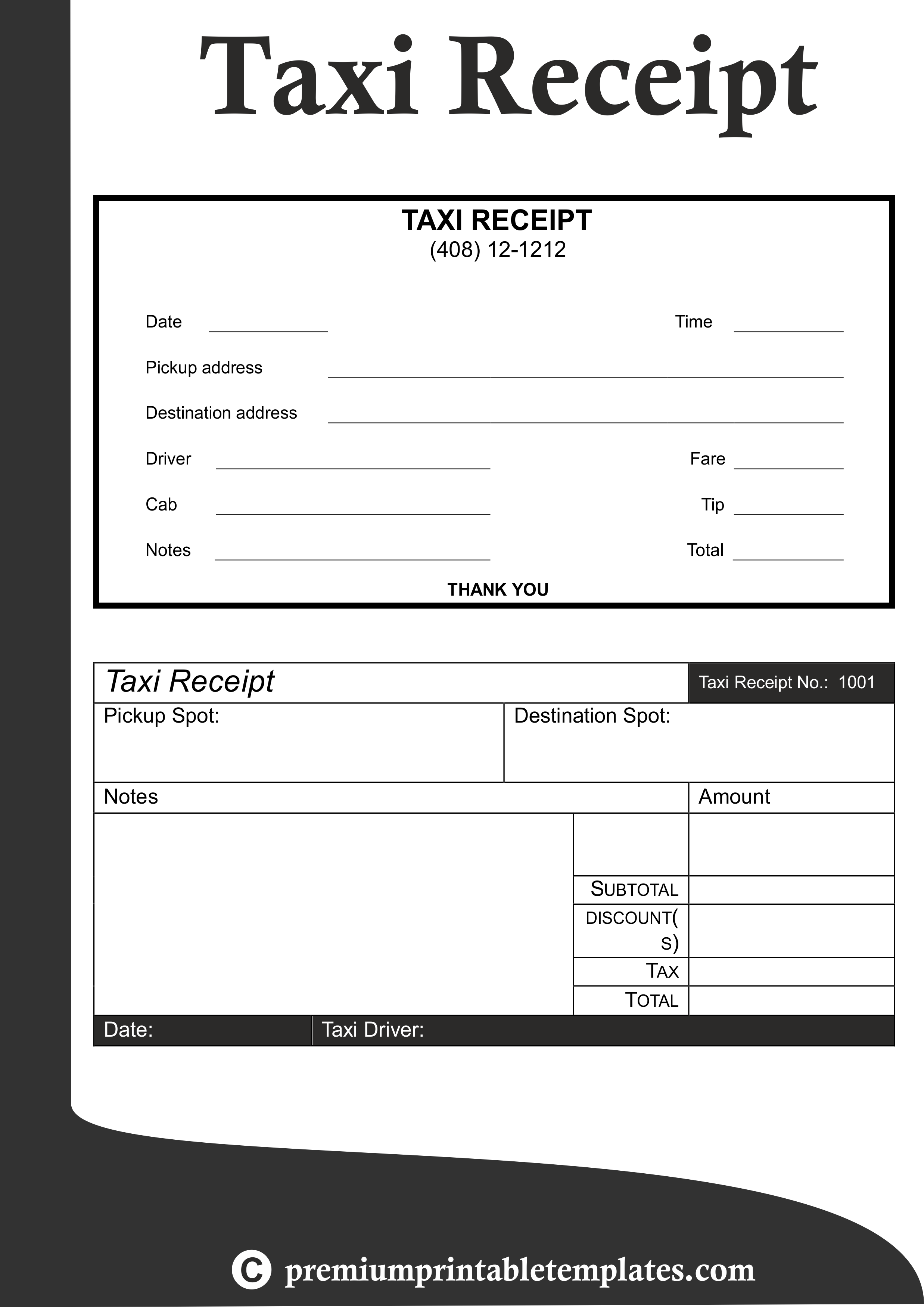 Taxi Receipt Template Pack Of 5 Premium Printable Templates Receipt Template Business Plan Template Template Printable