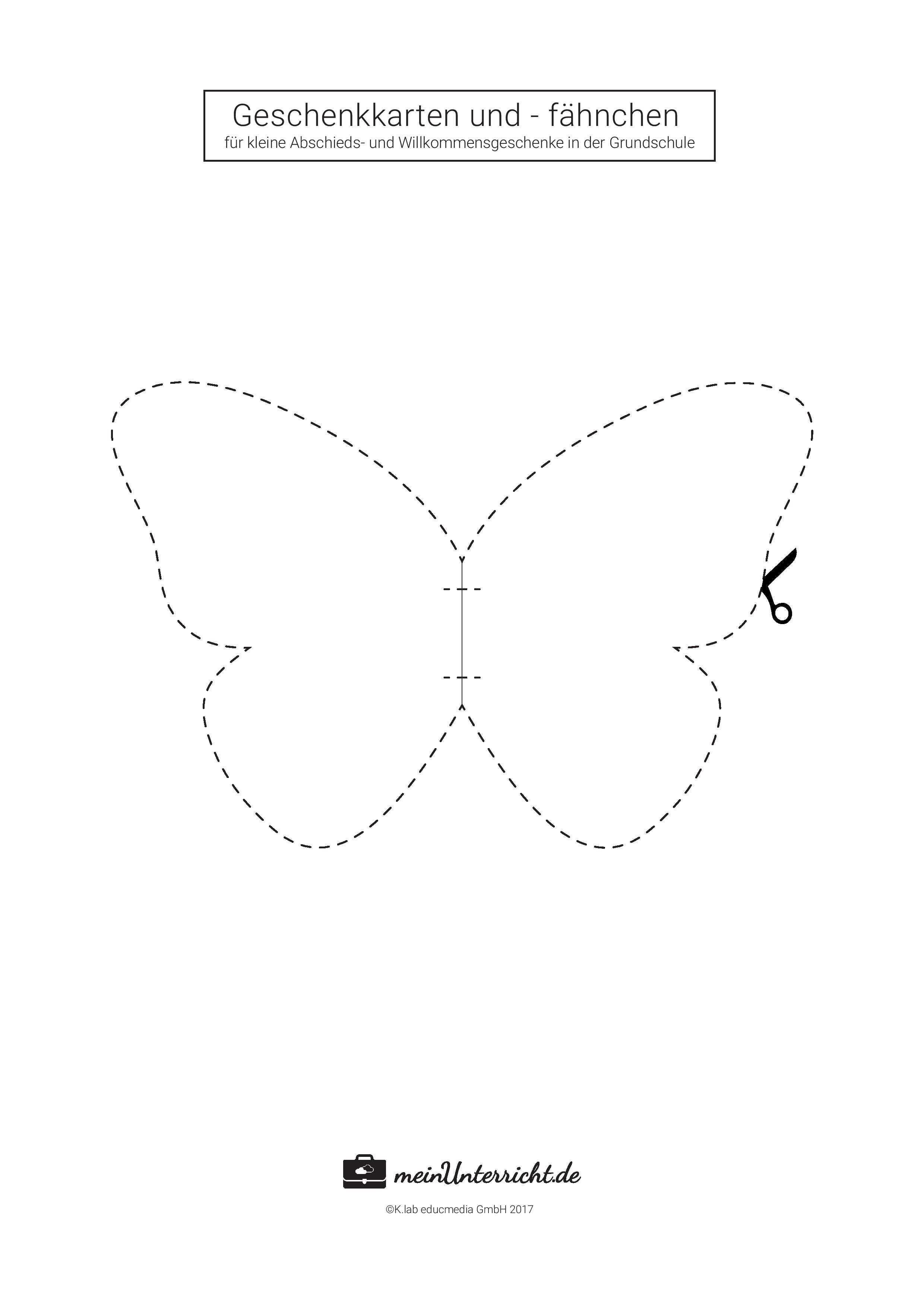 Kleine Geschenke Fur Schuler Meinunterricht De Geschenke Fur Schuler Schmetterling Vorlage Basteln Abschiedsgeschenk Kinder