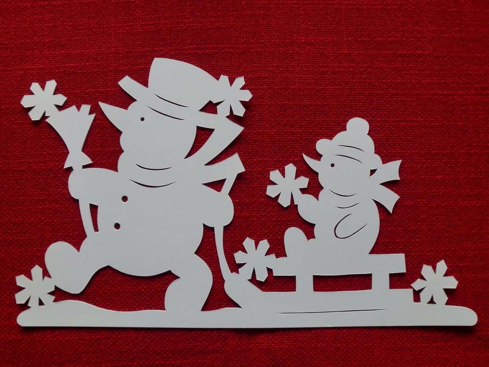 Schneemann Mit Schlitten Fensterbild Filigran Fensterbilder Schneemann Weihnachtsbasteln