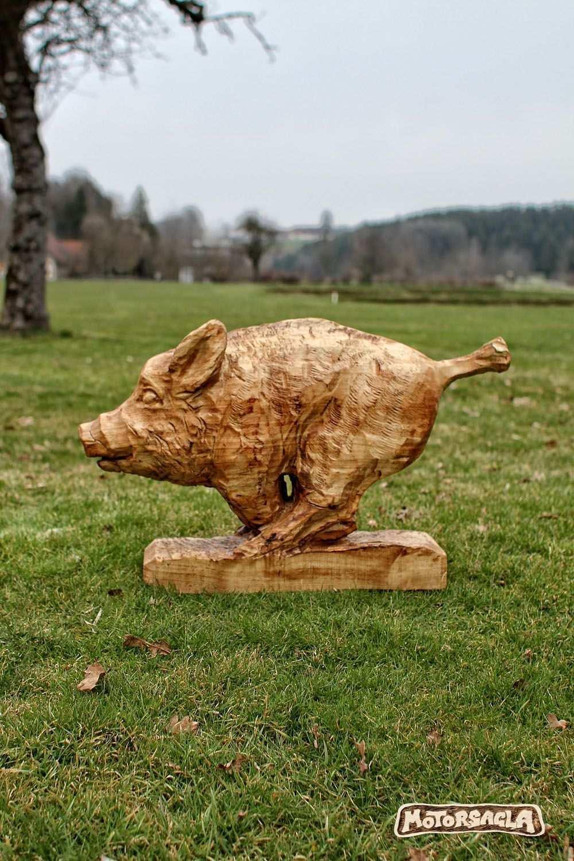 Wildsau Material Fichte Motorsage Holz Carving Wildboar Chainsaw Schnitzen Motorsage Schnitzen Mit Der Kettensage Kettensagenschnitzen Holz Schnitzen