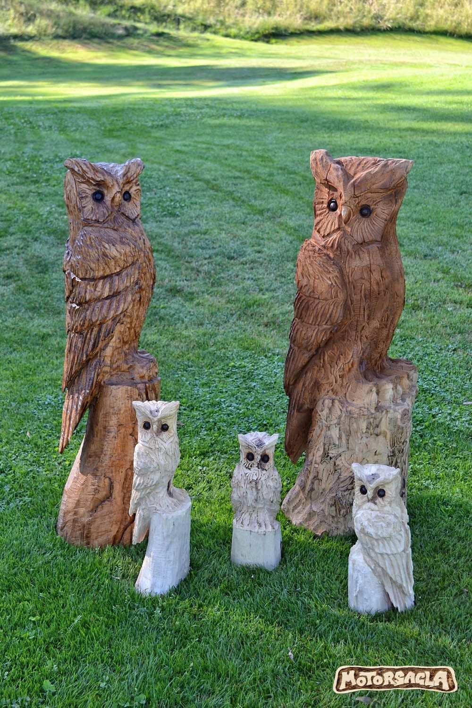Die Eulenbande Owl Vogel Schnitzkunst Woodcarving Tree Woodwork Handmade Austria Almtal Motorsagla Woodwork E Schnitzen Mit Der Kettensage Uhu Eule Holzkunst