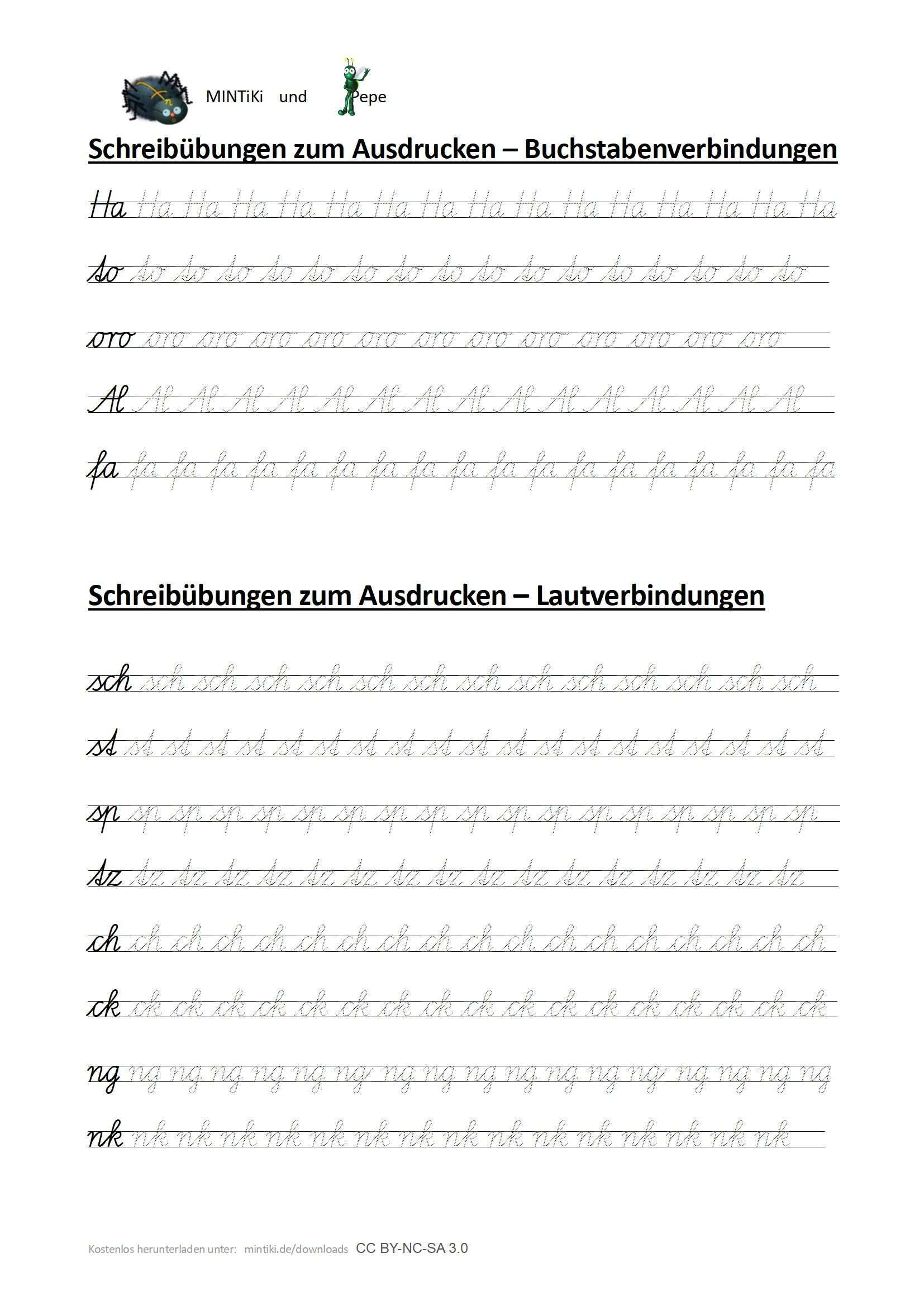 Schreibubungen Fur Laut Und Buchstabenverbindungen Schulausgangsschrift Schulausgangsschrift Schreibubungen Schreibschrift Uben