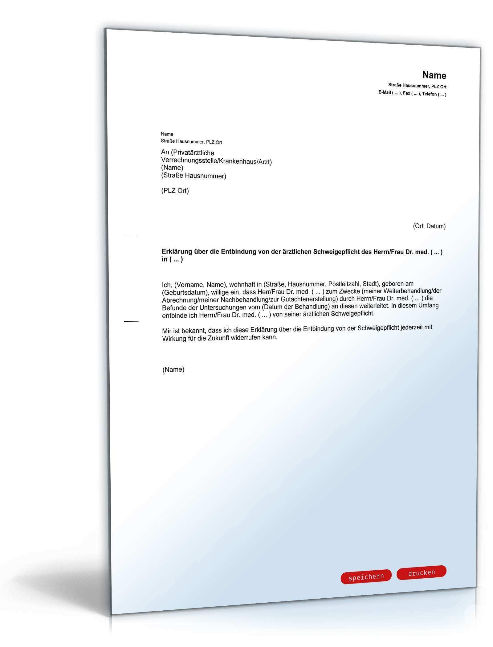 Entbindung Arztliche Schweigepflicht Musterbrief Zum Download