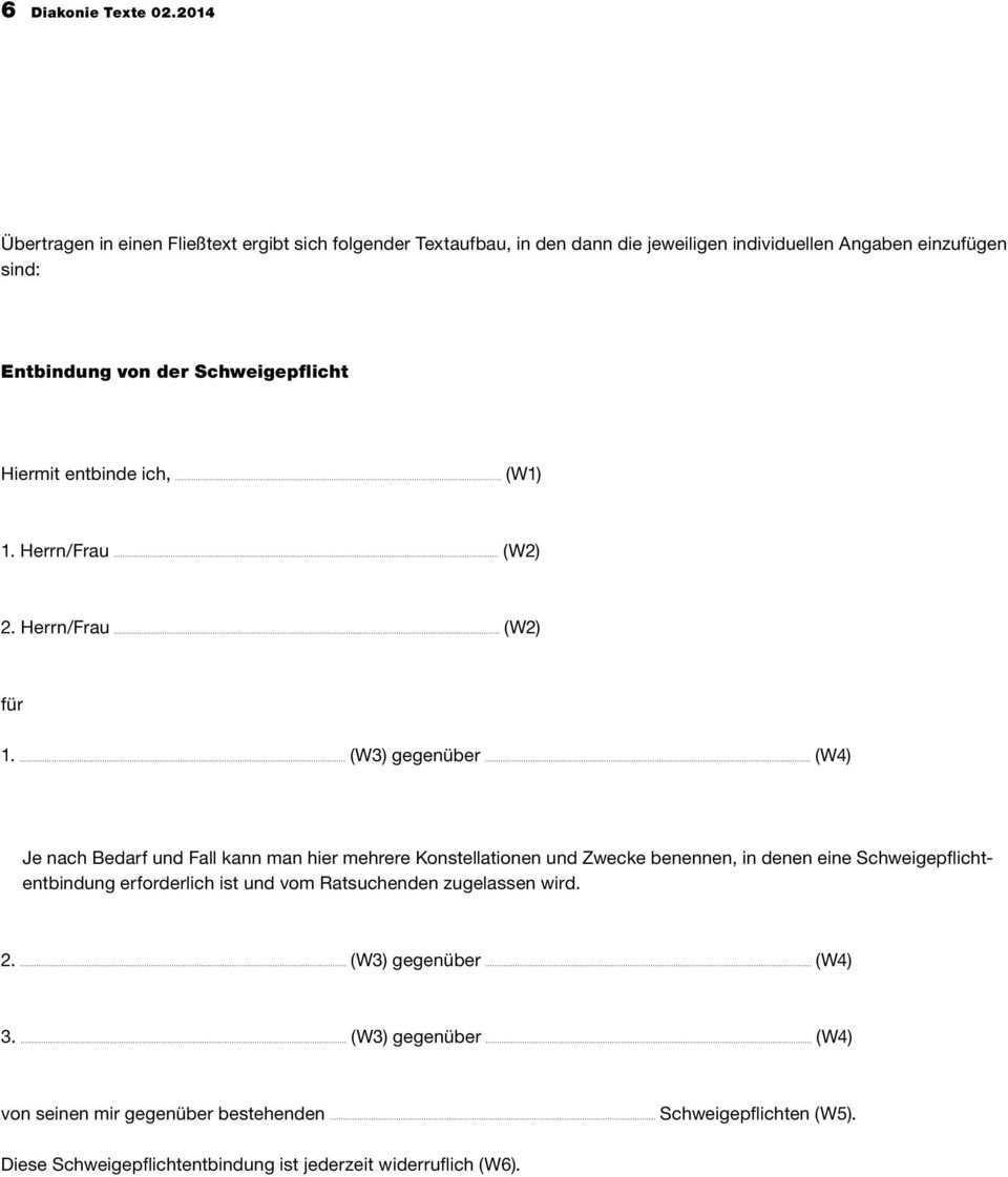 Zu Schweigepflichtentbindungen Fur Mitarbeitende In Der Diakonie Pdf Free Download