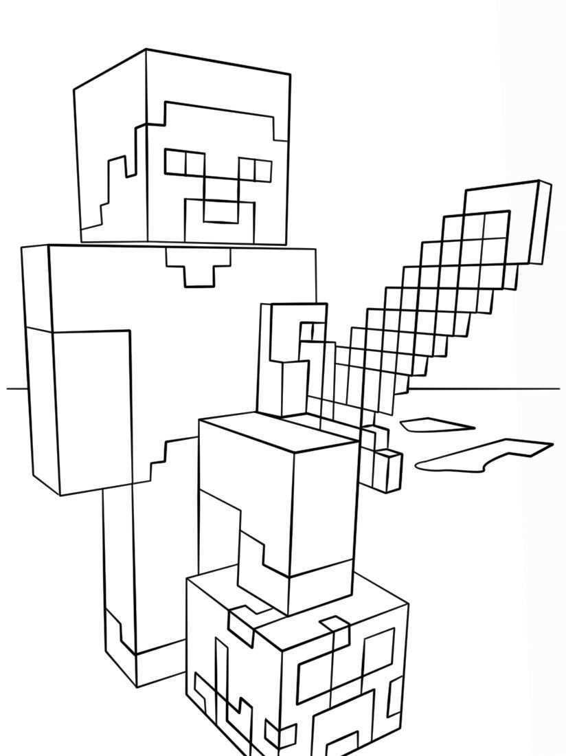 Minecraft Steve Mit Diamantschwert Malvorlagen E1550718510327 Minecraft Ausmalbilder Bilder Zum Ausmalen Fur Kinder Ausmalen