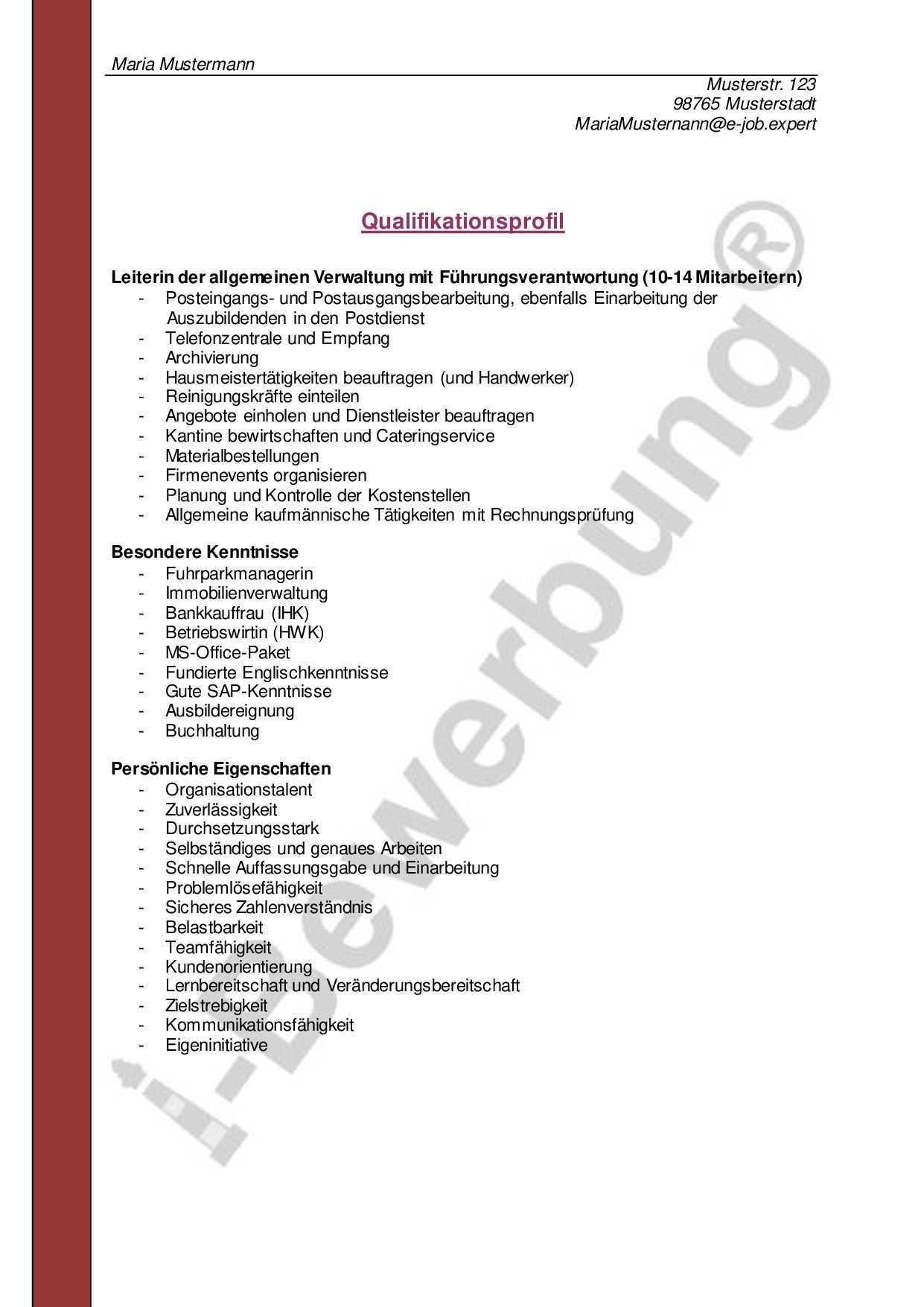 Muster Eines Qualifikationsprofils Zur Initiativbewerbung Vorlagen Lebenslauf Bewerbung Lebenslauf