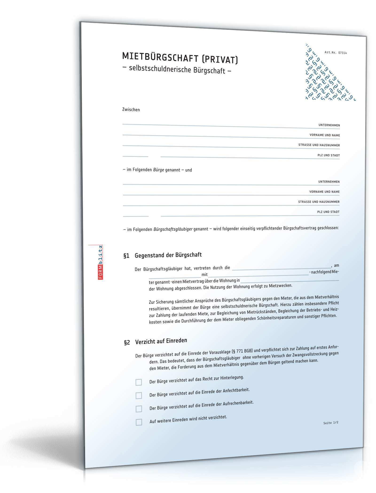 Selbstschuldnerische Mietburgschaft Muster Zum Download