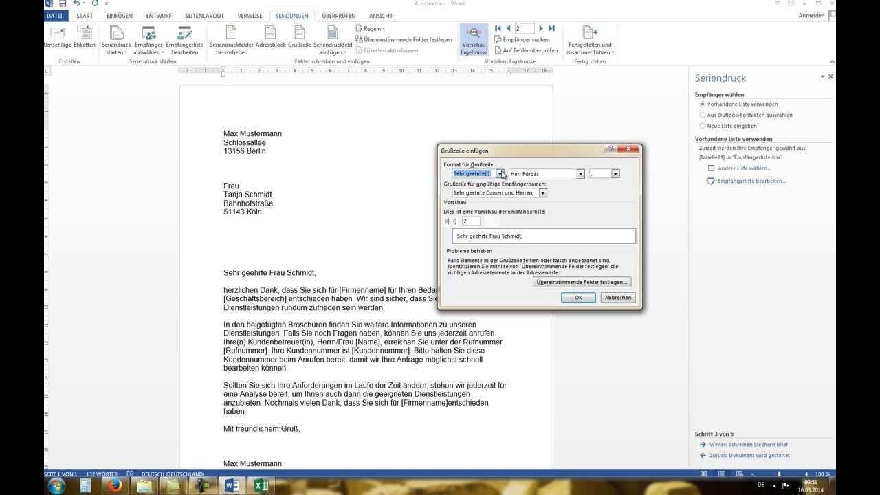 Word 2010 2013 Serienbrief Erstellen Mit Excel Datenquelle Tutorial Youtube