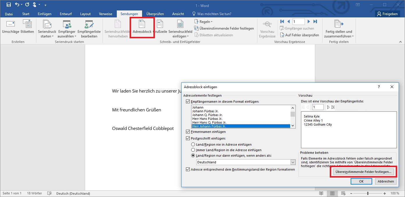Serienbrief Erstellen In Word Anleitung Ionos