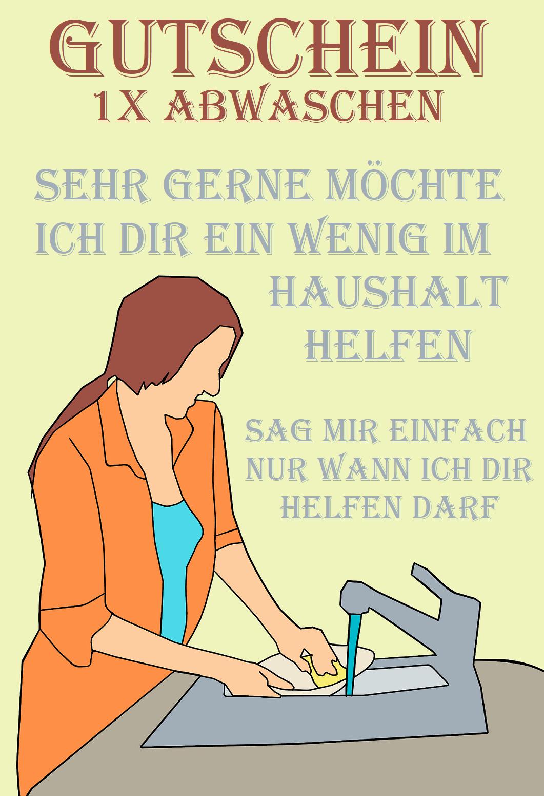 Gutscheinvorlage Furs Abwaschen Gutschein Vorlage Verschenken Gutscheine