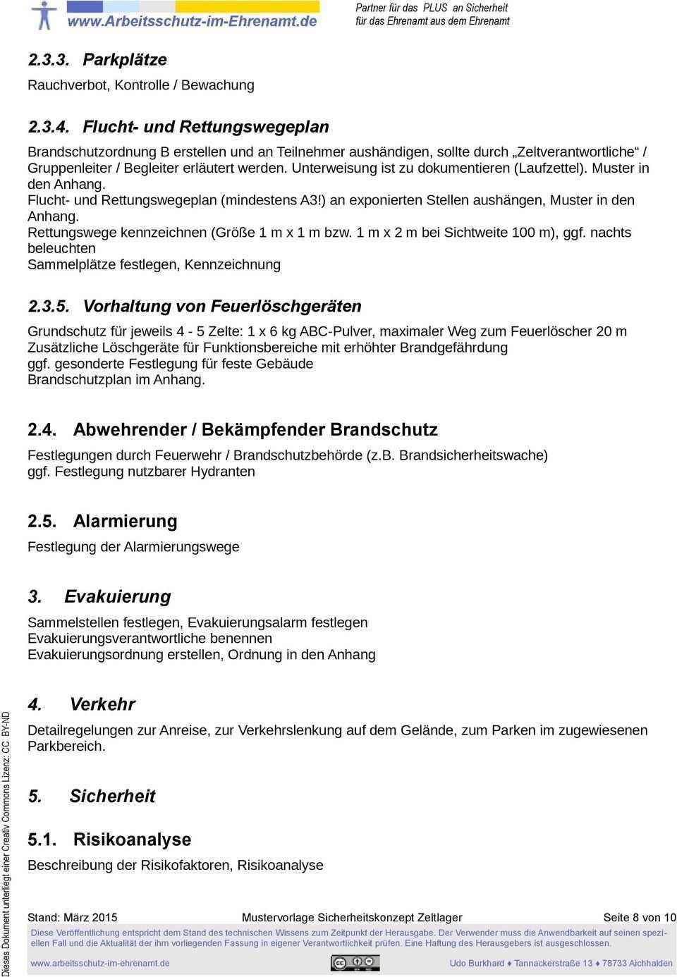 Mustervorlage Siko Sicherheitskonzept Zeltlager Pdf Free Download