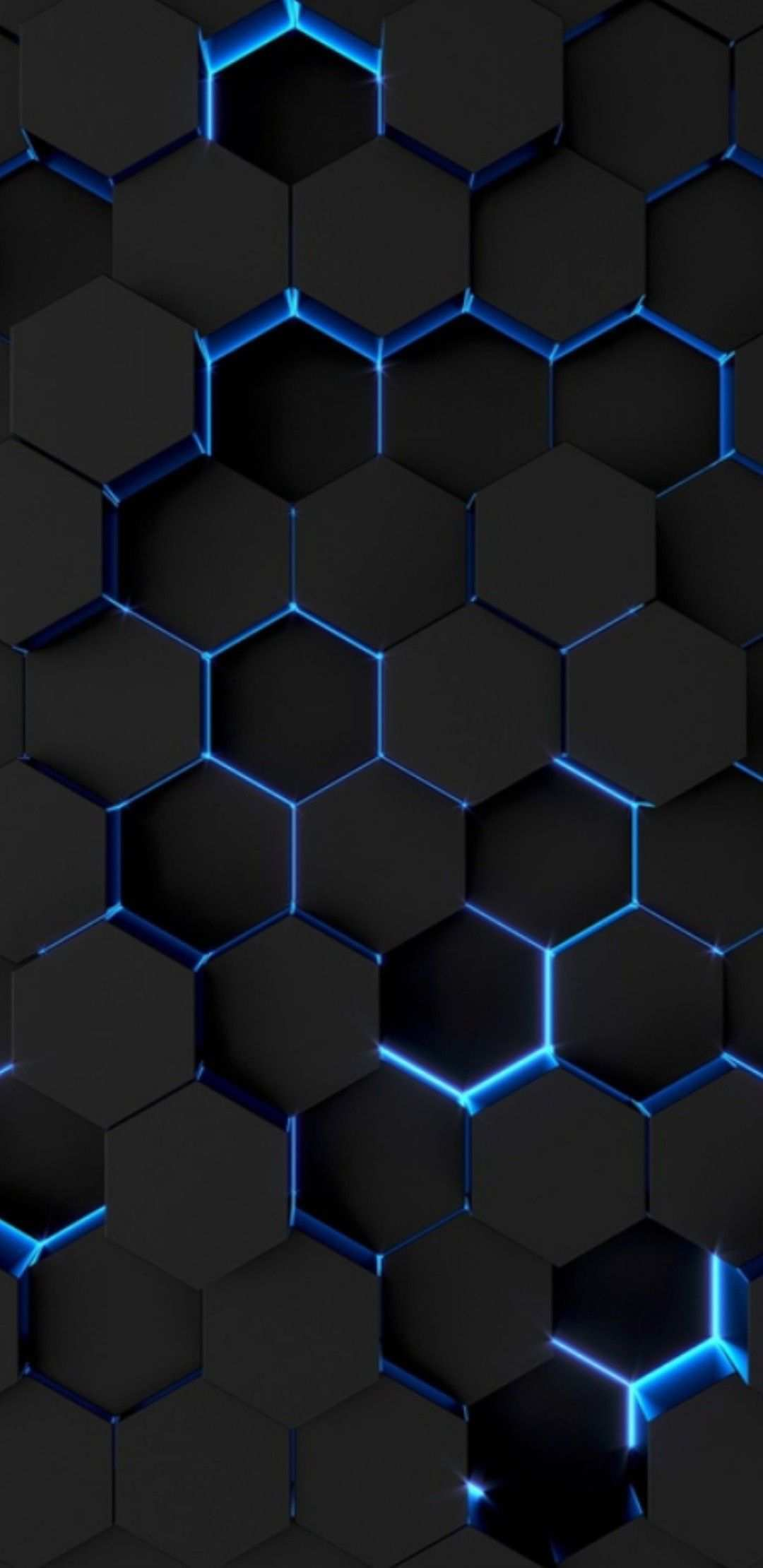 Black Surface Color Honeycomb Formation With A Slim Light Blue Neon L E D Outline Phone Wallpaper Design Black And Blue Wallpaper Graphic Wallpaper