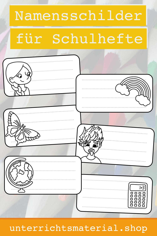 Namensschilder Fur Schulhefte Grundschule Schulhefte Kunstunterricht Basteln