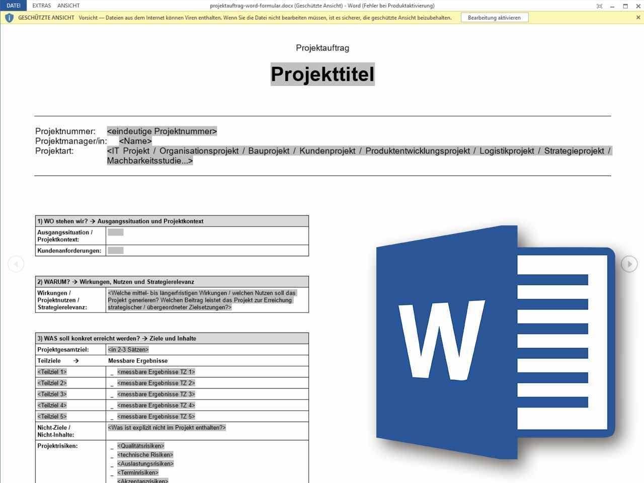 Projektauftrag Word Formular Projektauftrag Projektmanagement Excel Vorlage
