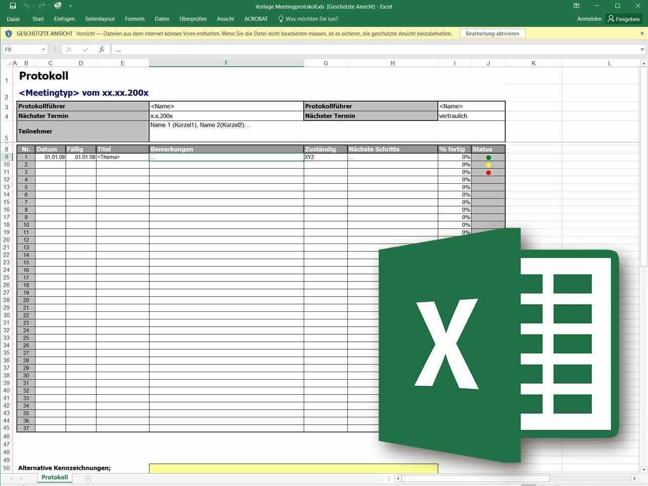 Besprechungsprotokoll Als Excel Vorlage Excel Vorlage Projektmanagement Vorlagen