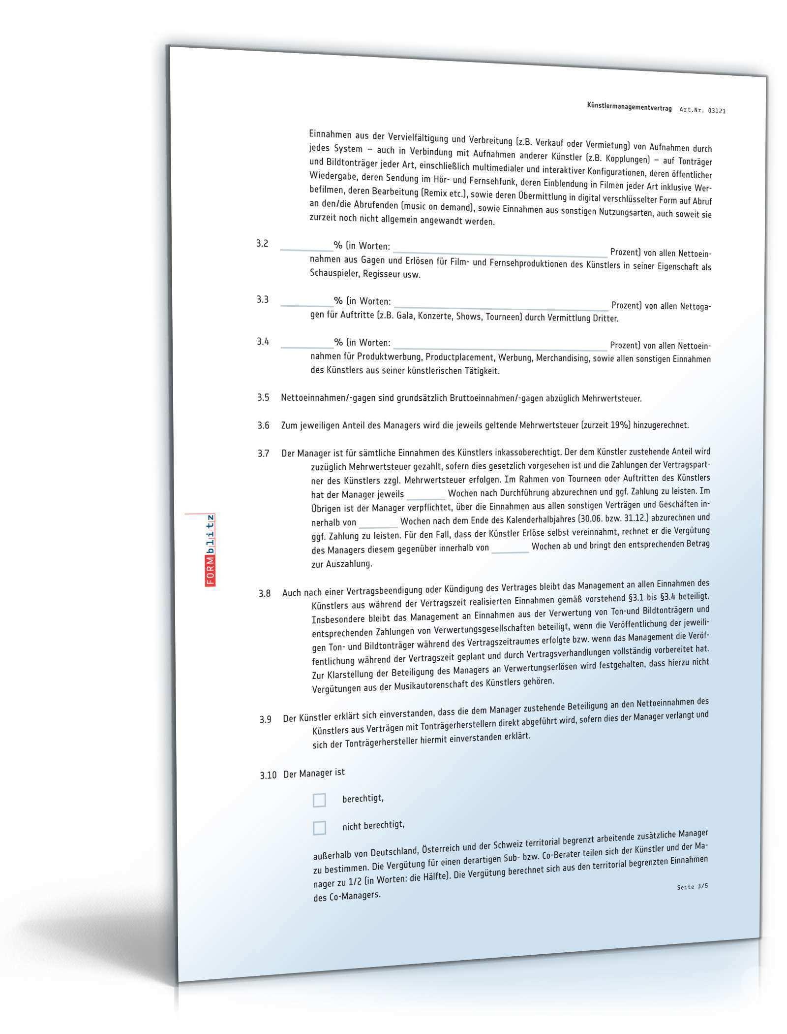 Kunstlermanagementvertrag Muster Zum Download