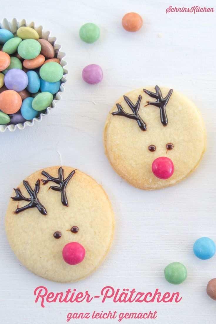 Rentier Platzchen Schnell Und Einfach Verziert Schnin S Kitchen Rentier Cookies Platzchen Backen Weihnachten Verzierte Kekse