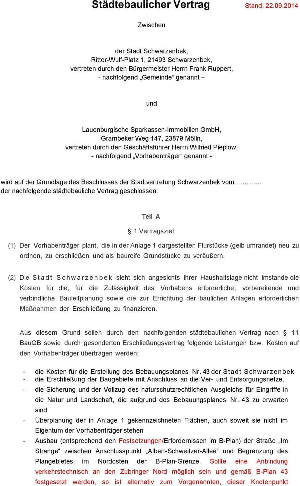 Stadtebaulicher Vertrag Stand Pdf Kostenfreier Download