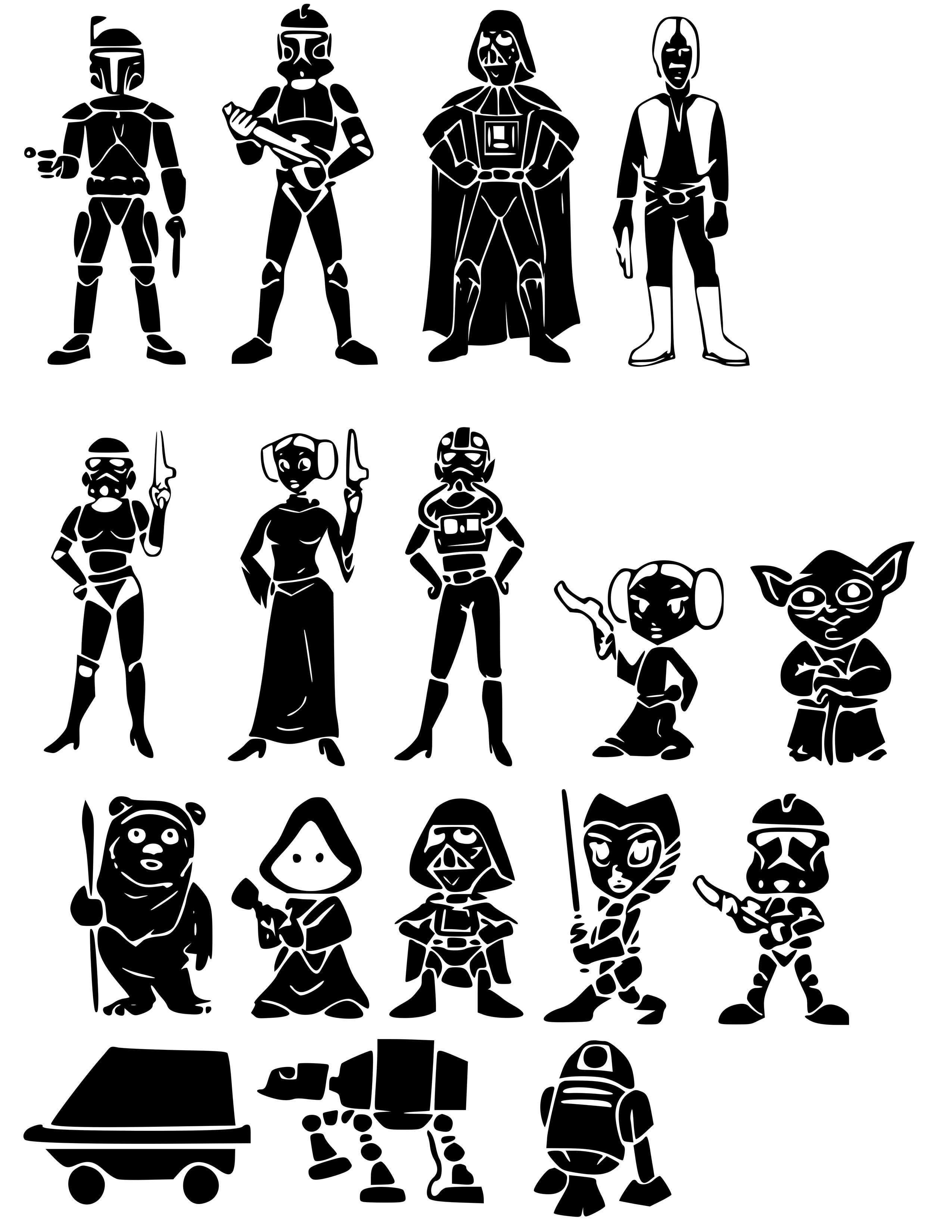 Star Wars Family Svg Files 99 For 17 Characters What A Deal Star Wars Silhouette Silhouette Images Star Wars