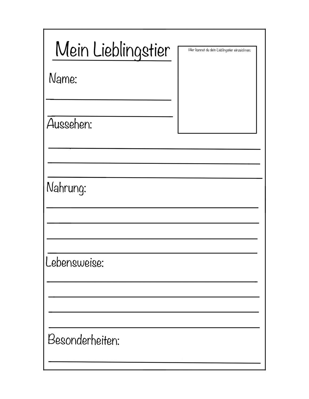 Steckbrief Lieblingstier Vorlage Unterrichtsmaterial Im Fach Sachunterricht Steckbrief English Lernen Vorlagen