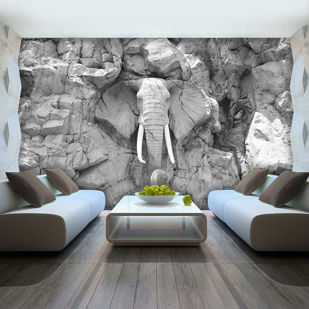 Vlies Fototapete Tapete Foto Bild Elefant Grau Wand Stein Skulptur 10116 Ve Tapeten Wohnzimmer Fototapete Vlies Fototapete
