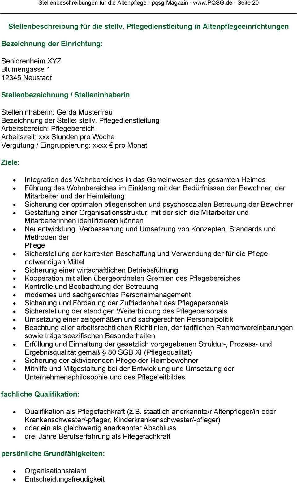 Stellenbeschreibungen Far Die Altenpflege Pdf Free Download