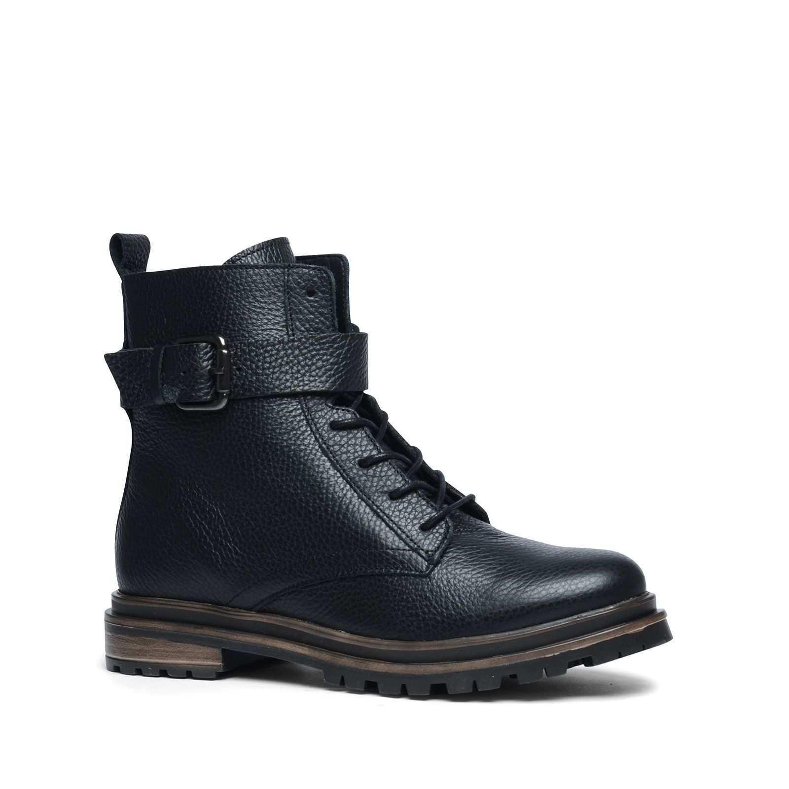 Schwarze Schnurstiefel Mit Schnalle Schuhe Damen Damenschuhe Schnurstiefel
