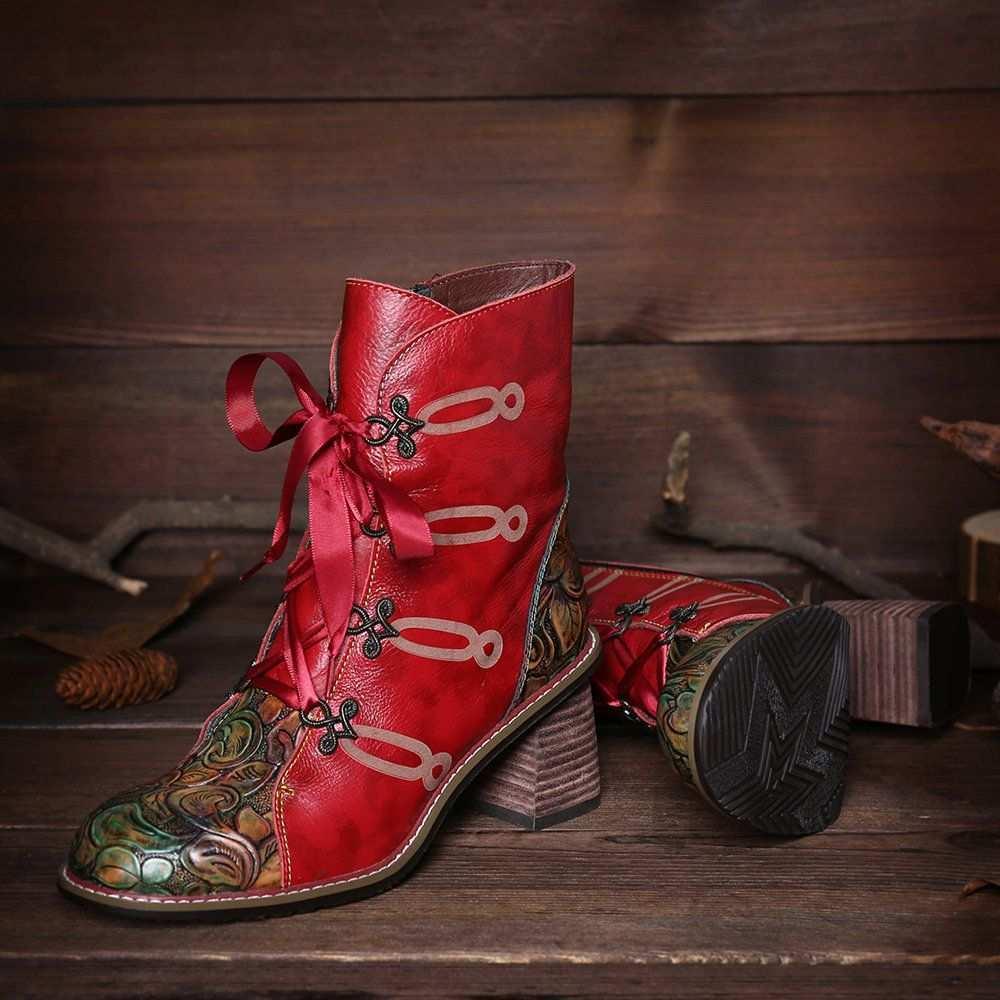 Billige Socofy Socofy Vintage Bedruckter Klettverschluss Aus Echtem Leder Mit Flachem Knochel Stiefel Newchic Mobile Stiefel Leder Klettverschluss