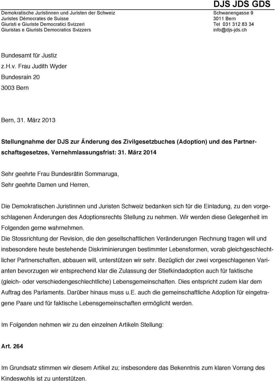 Stellungnahme Der Djs Zur Anderung Des Zivilgesetzbuches Adoption Und Des Partnerschaftsgesetzes Vernehmlassungsfrist Pdf Kostenfreier Download