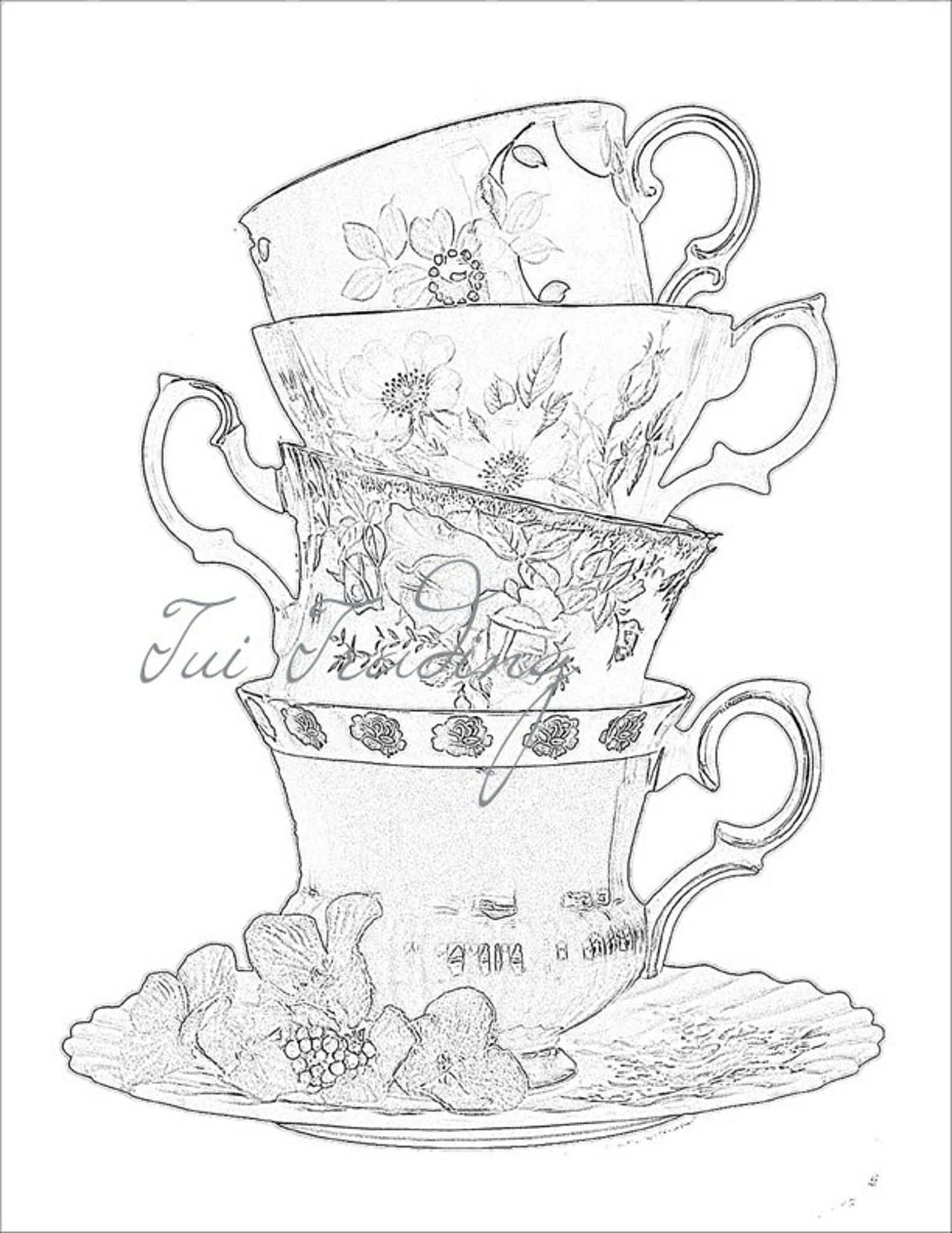 Sketched Teacups Digital Image For Instant Download Jpg For Etsy Cross Coloring Page Tea Cup Drawing Cup Tattoo