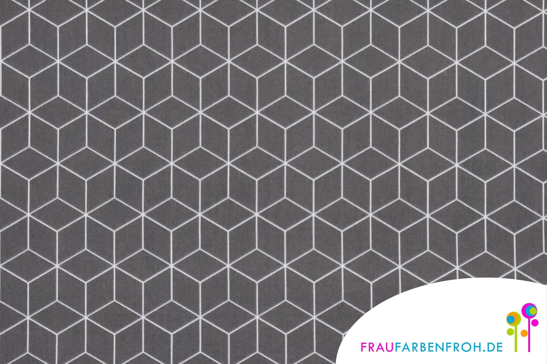 Baumwollstoff Als Meterware Mit Grafischen Mustern Toller Hautfreundlicher Stoff Aus Baumwolle Mit Wurfeln Cube Tile Floor Flooring Material
