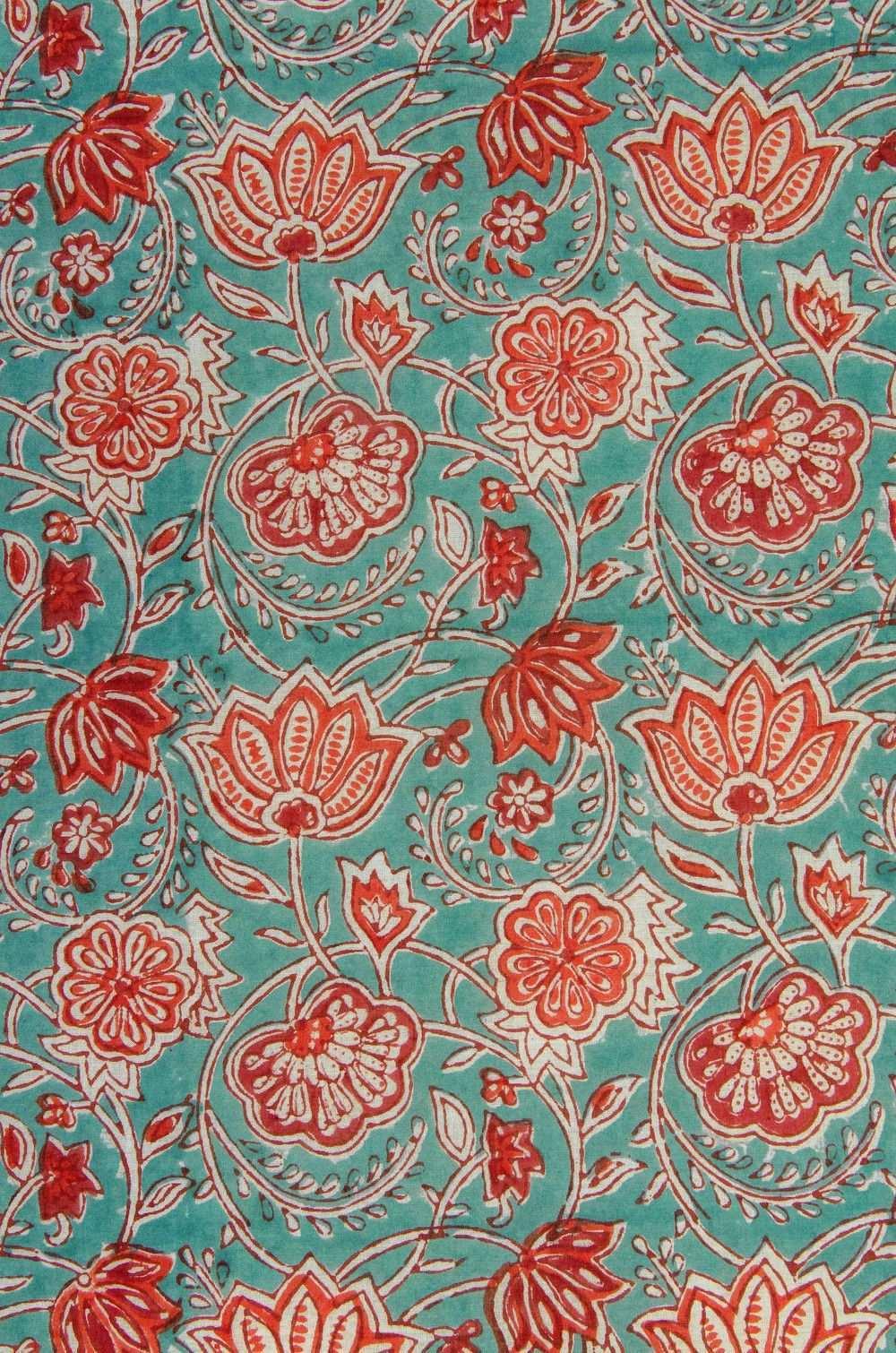 Stoff Blumen Blutenranken In Orange Weiss Blockprint Indien Ein Designerstuck Von Garnfaktur Bei Dawanda Stoffe Zum Nahen Stoff Tapeten