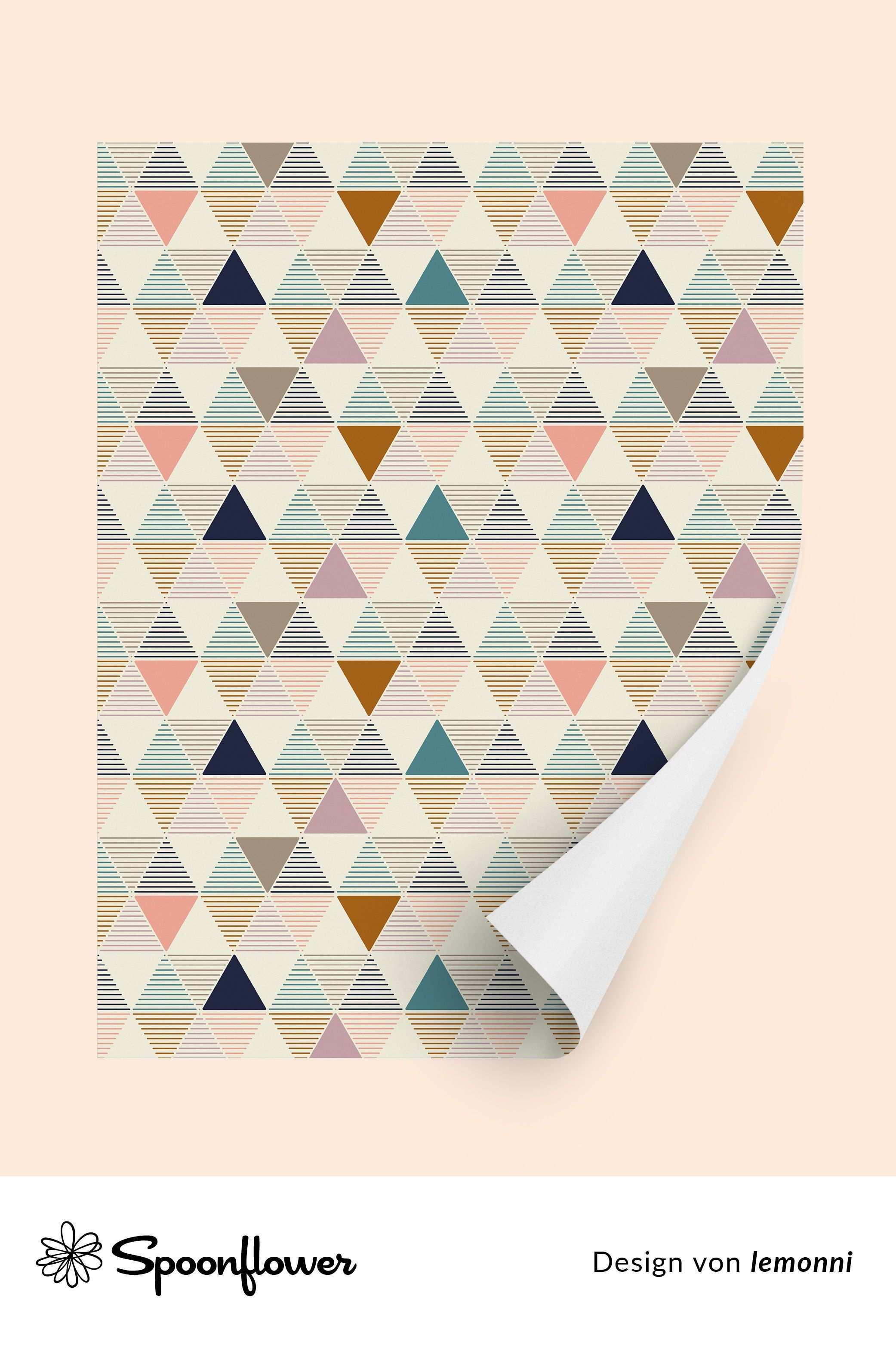 Retro Geometrisch Streifen Vintage Formen Dreieck Jahrgang Pattern Wallpaper Pattern Wallpaper