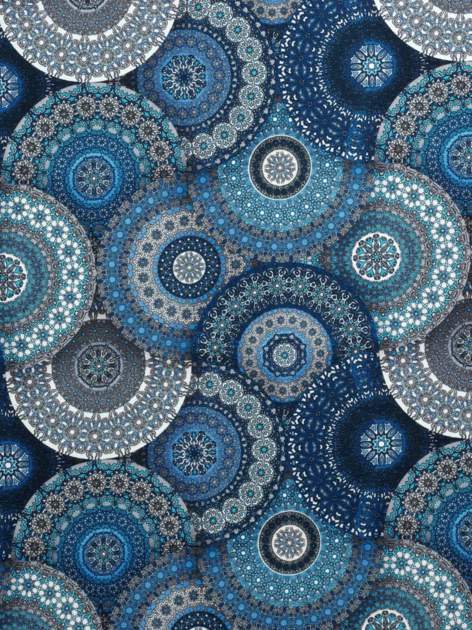 Jersey Stoff Blaue Mandalas Mandala Orientalisch Mystisch Meditation Mandala Quilts Decor
