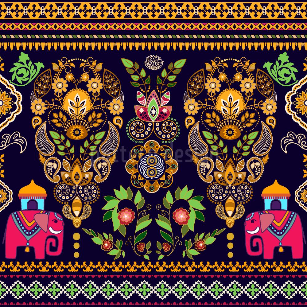 Indische Elefanten Umfarbbarer Baumwollstoff Viskose O Baumwoll Jersey Designt Von Tania Anisimova Www Stoff Love Indischer Elefant Handgezeichnete Blumen Muster