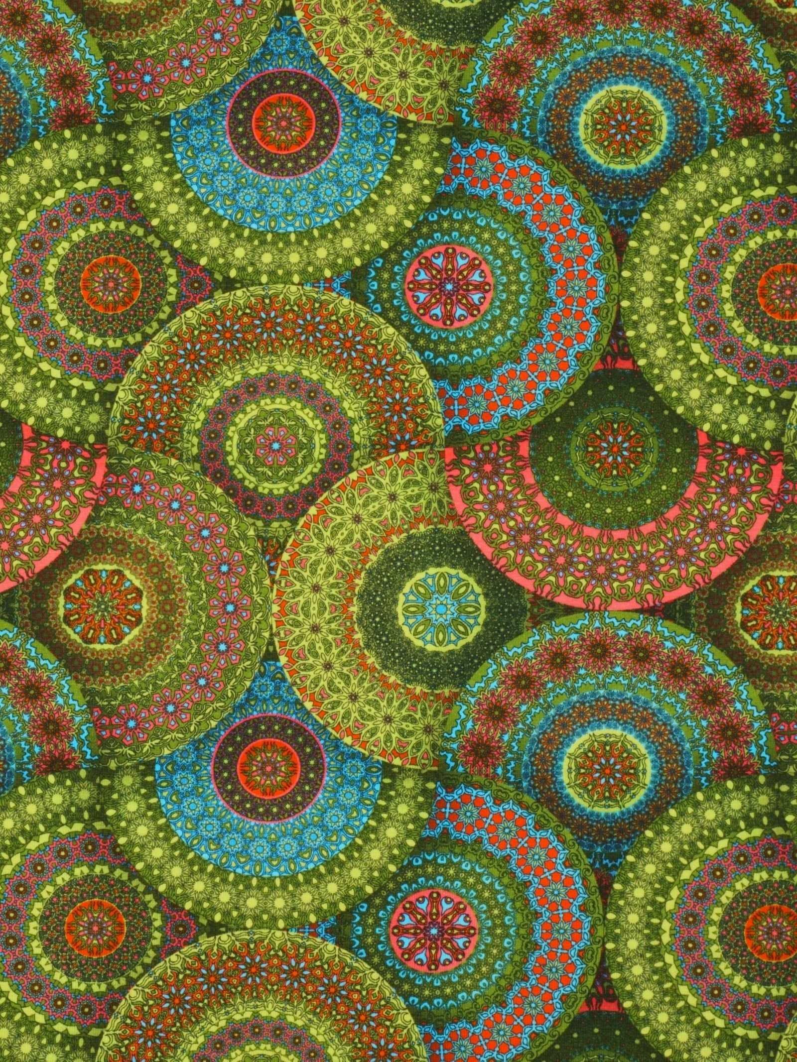 Jersey Fabric Yellow Green Mandalas Mandala Oriental Mystical Meditation Fabric Mandala Jersey Fabric