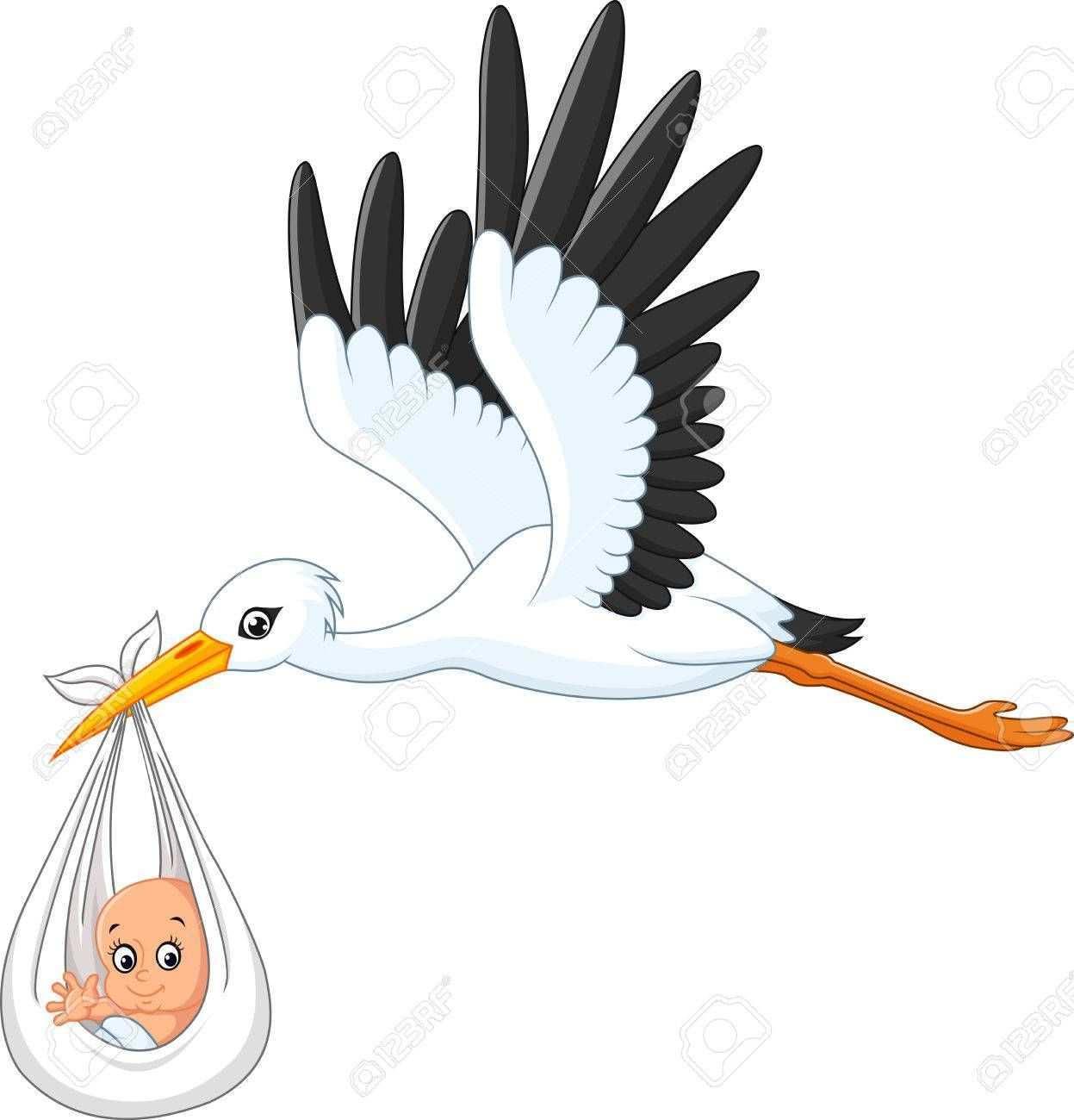 Cartoon Stork Carrying Baby Illustration Sponsored Stork Cartoon Carrying Illustration Baby Storch Zur Geburt Klapperstorch Geschenkideen Kinder