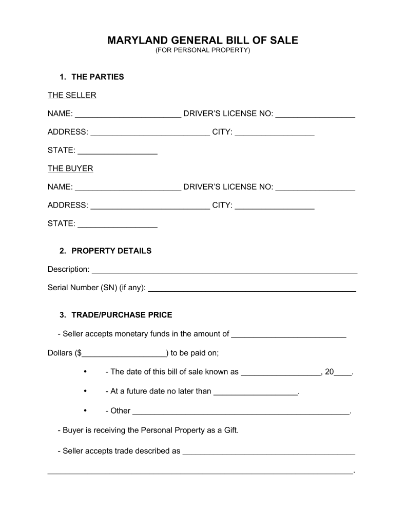 Free Maryland General Bill Of Sale Form Word Pdf Eforms Free Fillable Forms Bill Of Sale Template Business Template Professional Templates