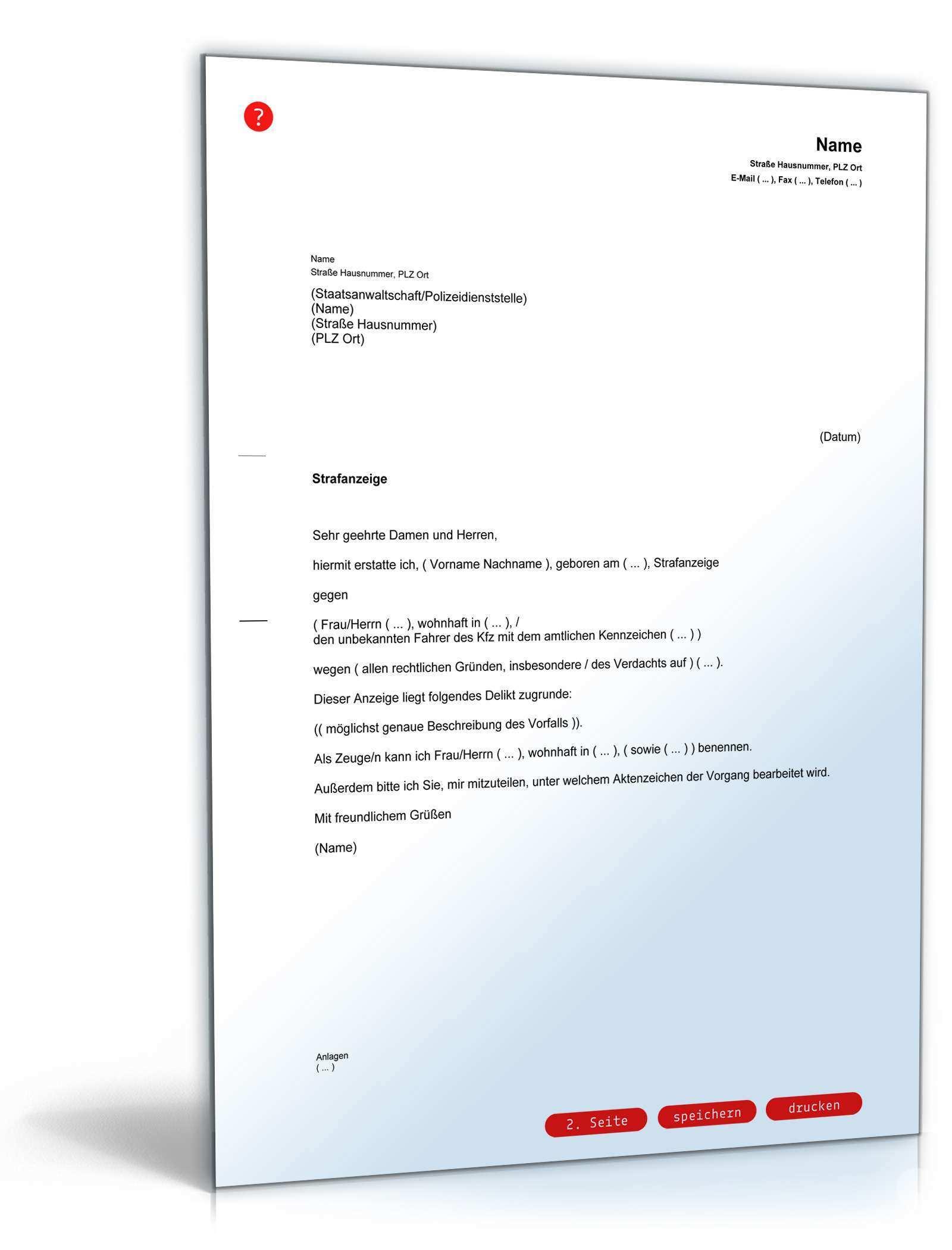 Strafanzeige Rechtssicheres Muster Zum Download