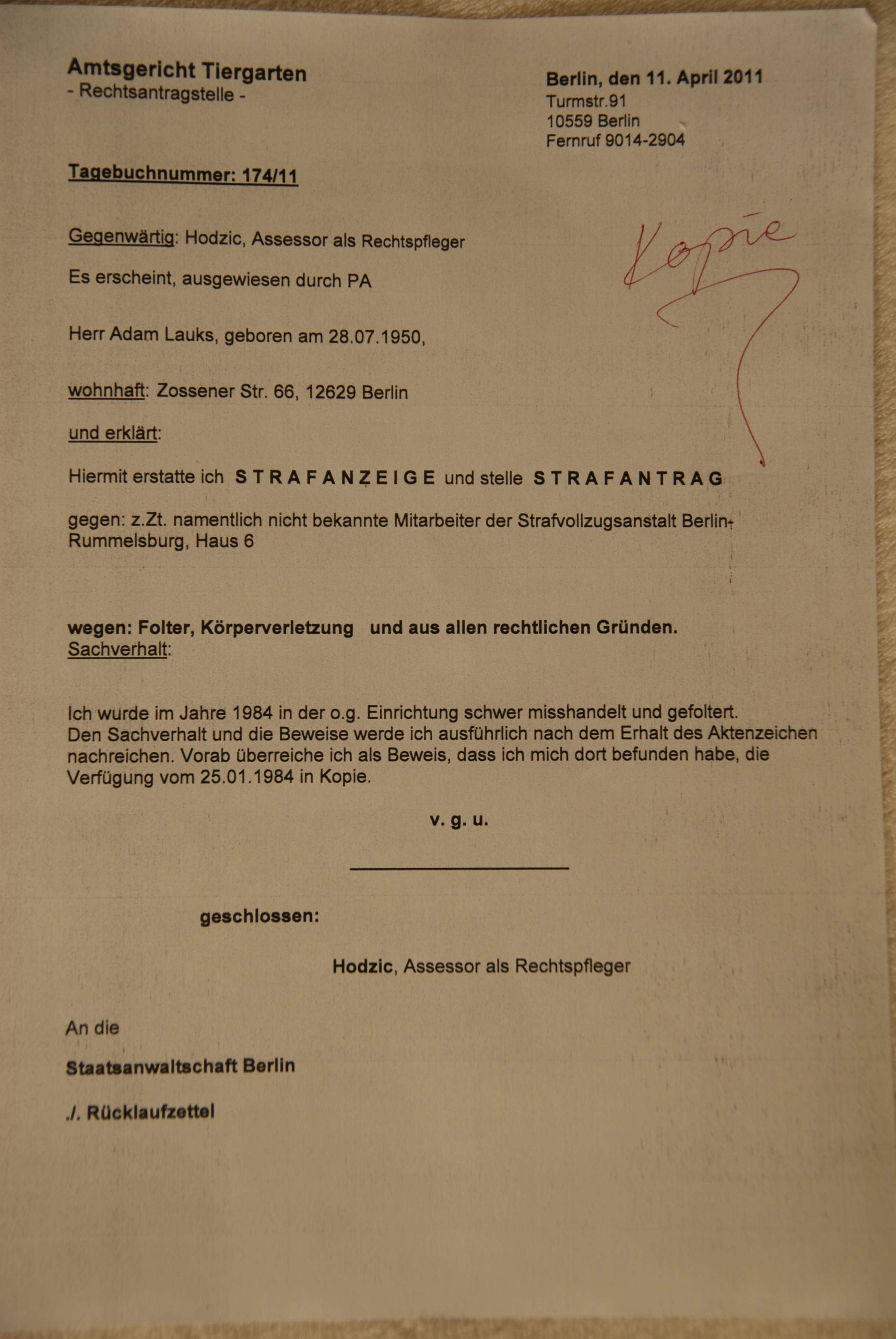Anzeige Wegen Korperverletzung Ausbildung