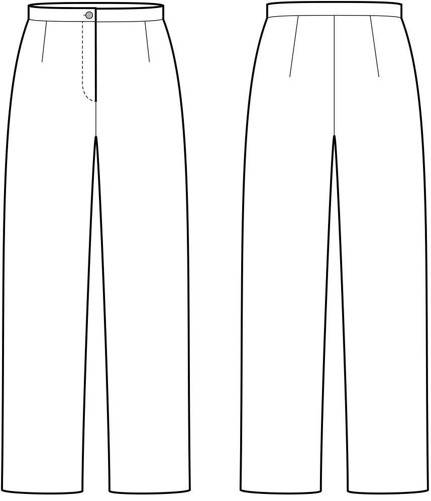 Vorder Und Ruckansicht Der Technische Zeichnung Einer Hose Technische Zeichnung Mode Design Vorlage Hosen