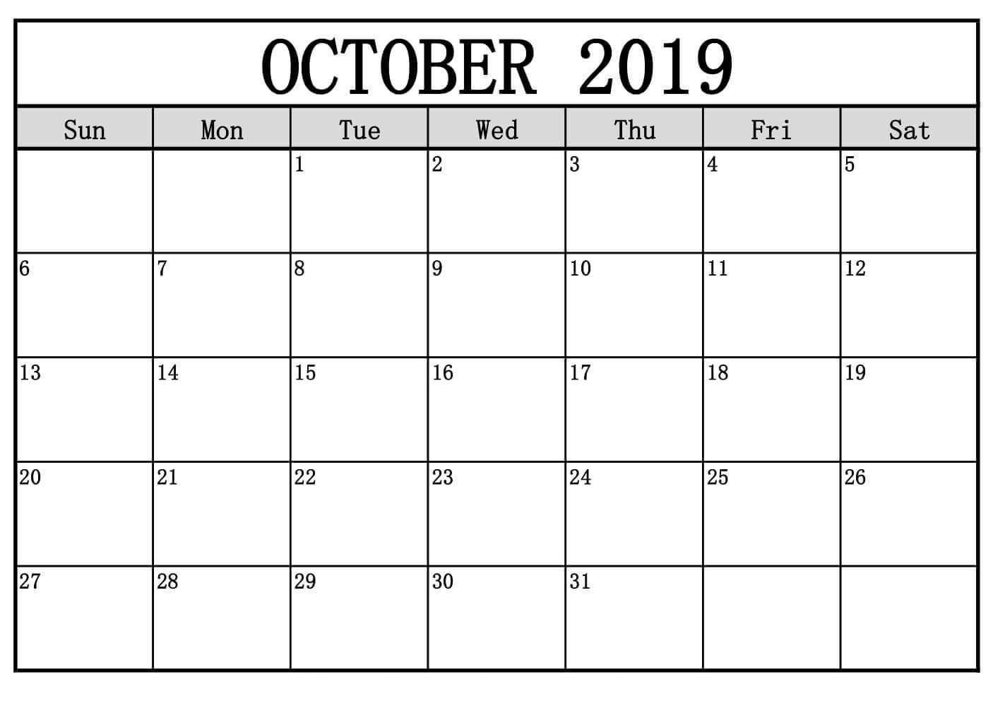 Oktober 2019 Kalender Druckbare Vorlage In Pdf Word Excel October Calendar 2019 Calendar Calendar Template