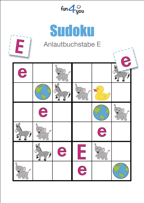 Abc Sudoku Mit Dem Buchstaben E Anlaute Unterrichtsmaterial In Den Fachern Daz Daf Deutsch Fachubergreifendes Sudoku Abc Anlaute