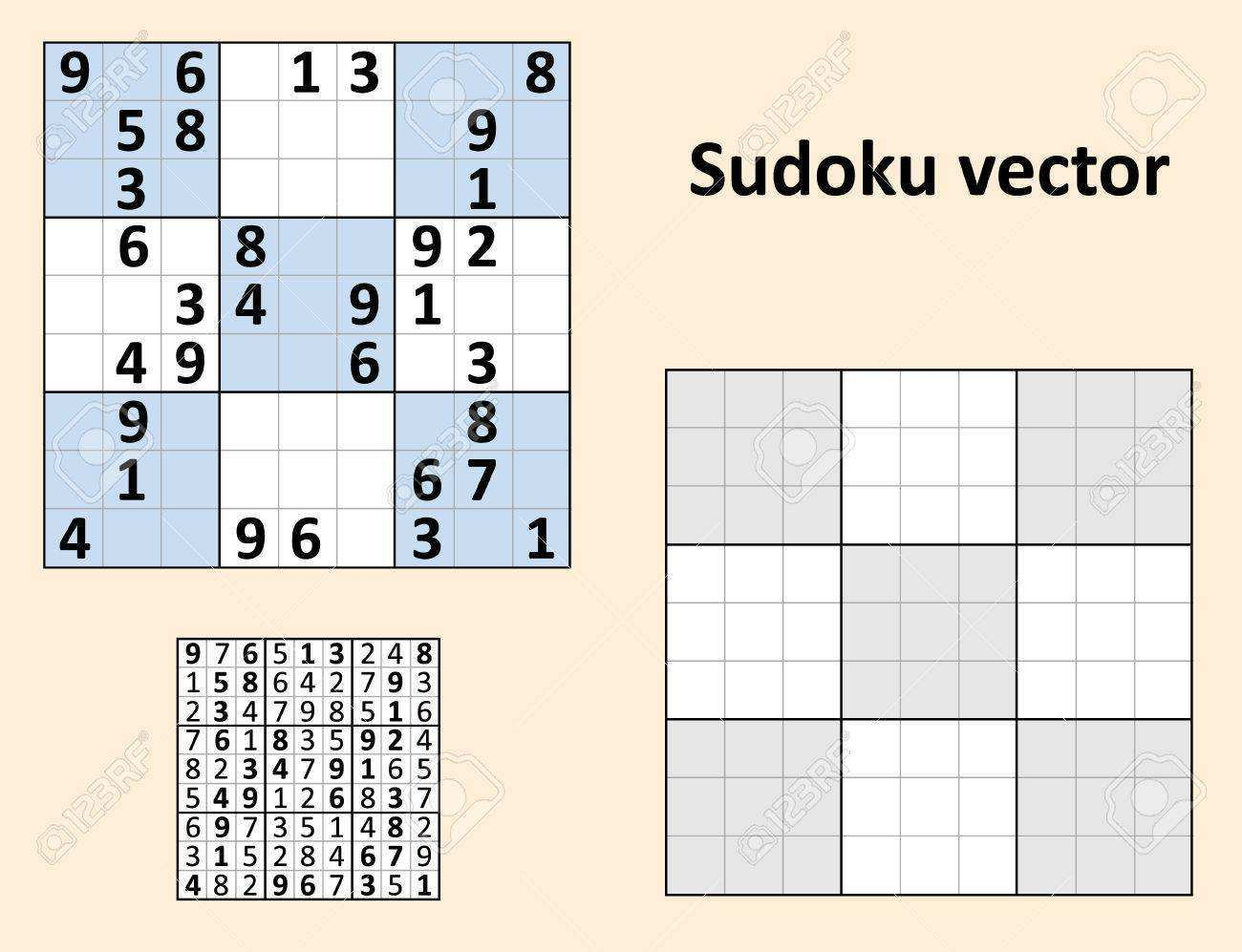 Symmetrical Sudoku With Answers Set Blank Template Royalty Free Cliparts Vectors And Stock Illustration Image 56851822