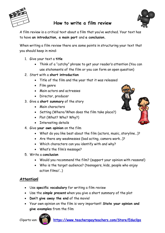 How To Write A Film Review Mit Beispiel Phrases Unterrichtsmaterial Im Fach Englisch Englischunterricht Vokabeln Unterrichtsmaterial