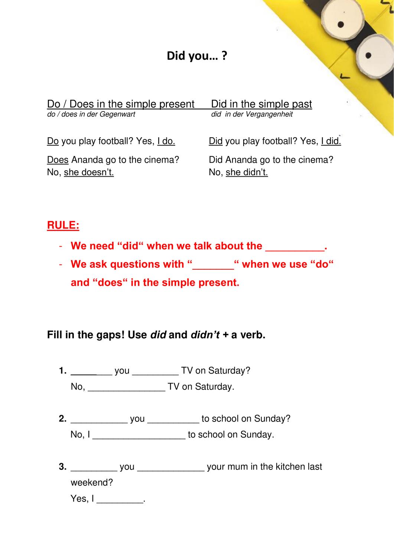 Merkblatt Fragen Im Simple Past Unterrichtsmaterial Im Fach Englisch Englischunterricht Unterrichtsmaterial Merken