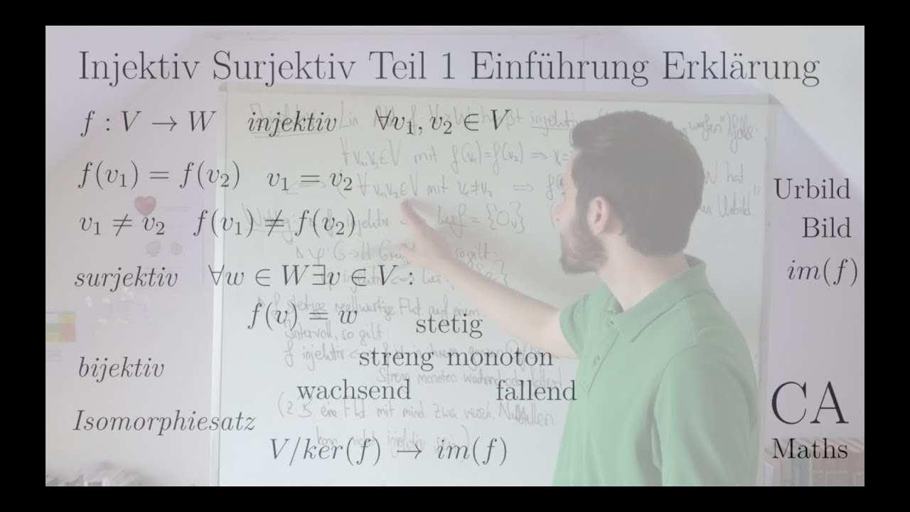 Injektiv Surjektiv Bijektiv Teil 1 Einfuhrung Erklarung Bsp Lineare Algebra Analysis Algebra Youtube