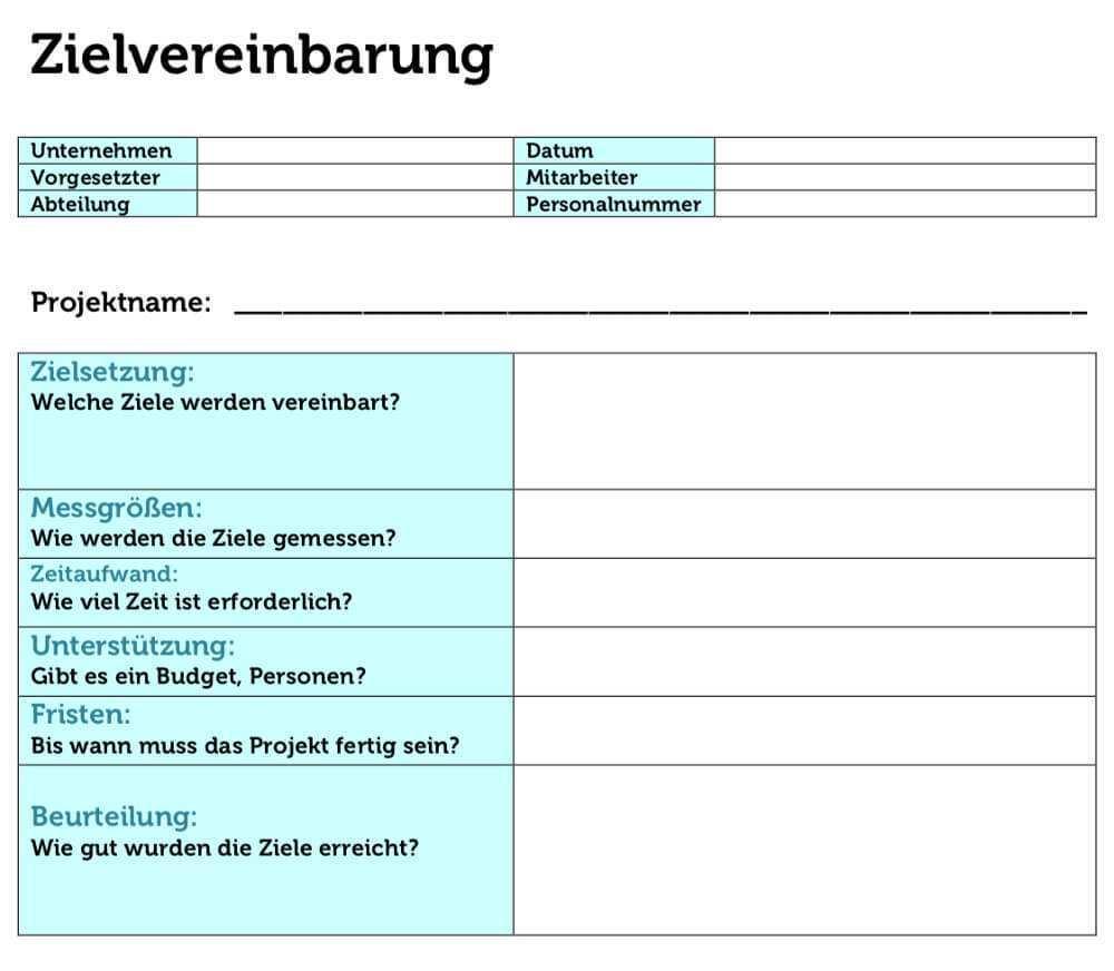 Zielvereinbarung Beispiele Formulierungen Gratis Vorlagen
