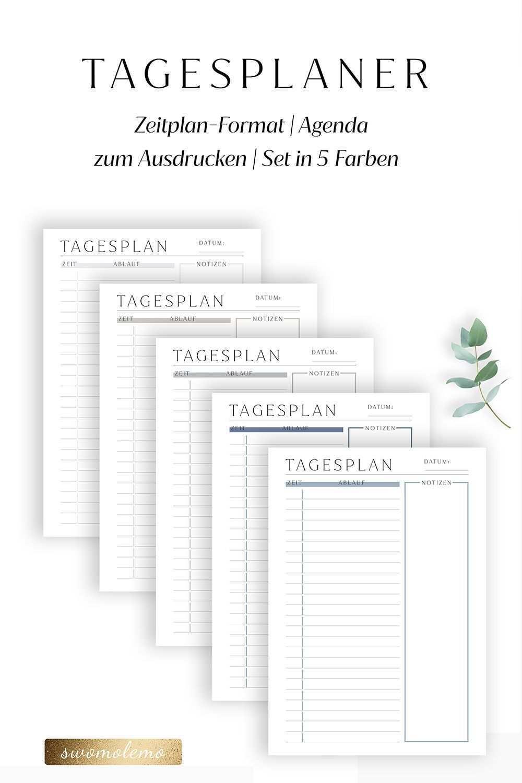 Tagesplan Zum Ausdrucken 5er Set Zeitplan Format Swomolemo Tagesplan Planer Vorlagen Tagesplan Vorlagen
